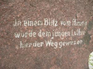 Der Lutherstein in der Nähe von Erfurt.