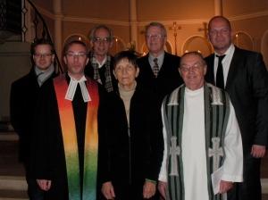 Rogate-Einführungsgottesdienst am 5.11.2009: Ulrich Reinfried, Pastor Uwe Meltzko, Pfarrer Andres Fuhr, Waldtraud Wendland, Edmund Mangelsdorf, Pater Josef Rohrmayer, Miguel-P. Schaar